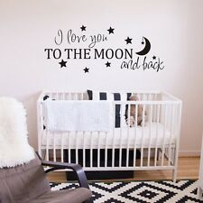 Inspired Wall Sticker I Love You to the Moon and Back Saying Kids Room Art Decor