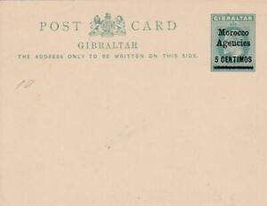 MOROCCO AGENCIES GIBRALTAR EDWARD V11 5c POSTAL CARD OVERPRINTED UNUSED