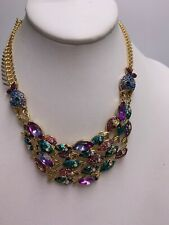 Betsey Johnson Gold Tone School of Fish Statement Necklace A24a