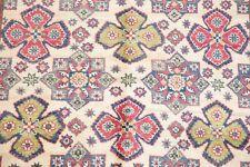 One-of-a-Kind 5'x7' Super Kazak Hand-Knotted Oriental Area Rug Geometric IVORY