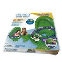 Pool Toy Baby Boat Turtle With Sun Shade Swim School Ride On 6 to 18 Months NEW