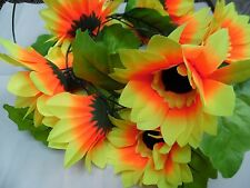 6FT GIANT SUNFLOWER 13 HEADS GARLAND BRIGHT ORANGE/ YELLOW LARGE LEAVES/WEDDING