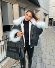 Women's Ladies Oversized Faux Fur Collared Hooded Lined Denim Jacket Winter Coat