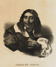 Künstlerportrait des Malers Karel DUJARDIN, 19. Jh., Lithographie