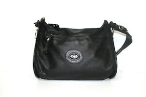 The Bridge Solid Black Top Handle Leather Small Shoulder Bag