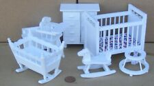 1:12 Scale 7 Piece White Painted Wood Nursery Set Tumdee Dolls House Bedroom 269