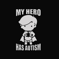 """1Pc White """"MY HERO HAS AUTISM"""" Decal Sticker For Car Truck Laptop PET Decal Hot"""