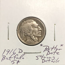 1916 D Buffalo Nickel ~ *Better Date* ~ Strongly Detailed Original Coin