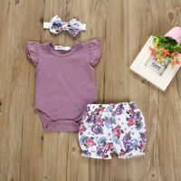 Newborn Baby Girl Romper Tops Jumpsuit Flower Pants Headband Outfits Clothes Set