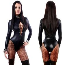 Sexy Women PU Leather LATEX Bodysuit Catsuit Long Sleeve Leotard Tops Jumpsuit
