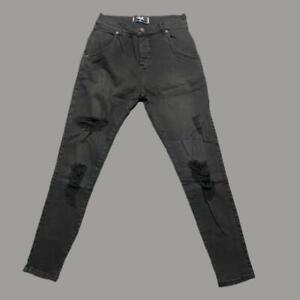 Mens Sik Silk Siksilk Skinny Stretch Ripped Denim jeans BLACK MEDIUM W32 L31 L13