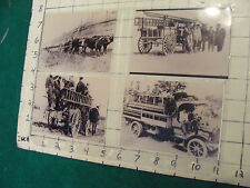 vintage At&T 4 small Photos of Trucks, ladder, horse drawn, car #6, all repros,