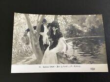cpa Couple bord de fontaine, P. Rivera Salon de Paris 1909
