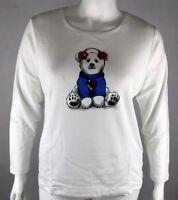 New Karen Scott Womans Sz 2X Holiday Bear Long Sleeve Christmas Top NWT