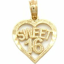 14k Gold Sweet 16 Heart Charm Birthday Daughter Jewelry