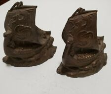 Antique 1920 Pair Viking Ship Sculpted Heavy Bronze Bookends