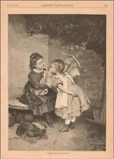 DOLL KISSING LITTLE GIRL, DOLL BUGGY, antique engraving original 1882