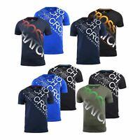 Mens Crosshatch T-shirt 2 Pack Crew Neck Diag Top Tee