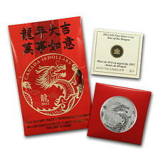 2012 1/2 oz Silver Canadian $10 Year of the Dragon Coin - Box and Certificate