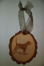 RUSTIC WOOD BEAGLE DOG CHRISTMAS ORNAMENT