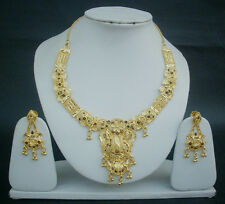 Indian Traditional Bridal Jewelry 22k Gold Plated Fashion Necklace Earrings Set