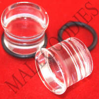 """1333 Acrylic Single Flare Clear 1/2"""" inch Plugs 12.7mm MallGoodies 1 Pair (2pcs)"""