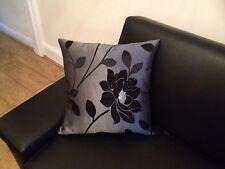 """4 18"""" 45cm NEGRO FLOR Y PLATA Cushion Covers.? por qué comprar de ahora?"""