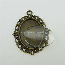 12847 10SET 18x13mm Clear Glass Cameo Holder Base Tray Setting Pendant Frame