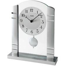 AMS 1118 Tischuhr Quarz mit Pendel silbern Metall mit Aluminium und Glas.