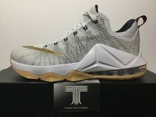 "nike lebron xii low ""weiß/gold"" 724557 174. uk gr. 7"