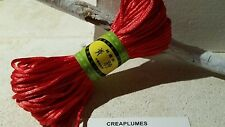 Lot de 20m cordon polyester, fil pour bracelet , 2mm  rouge