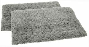 Solimo Premium Anti-Slip Microfibre Bathmat - 60cm x 40cm,Steel Grey, Pack of 2