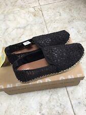 New TOMS Deconstructed Alpargata Espadrille Slip-On Shoes floral lace Black 7.5