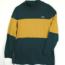 New listing LL BEAN Teal Green Yellow Striped Mock Neck Rugby Polo L/S SWEATER MEN'S XL Reg