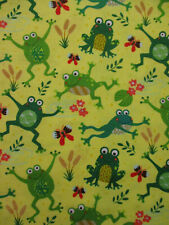 Frogs Jumping Flowers Frog Grass Green Yellow Cotton Fabric Fq