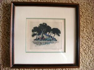 ORIGINAL FRAMED SIGNED MAY GEARHART COLOR ETCHING OF  House with Pickett Fence