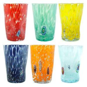Murano Glass Drinking Tumblers Set of Six 6 Blue Yellow Orange Red Millefiori