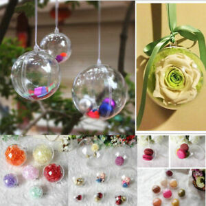 25X Clear Christmas Ball Acrylic Baubles Fillable Box Xmas Tree Hanging Ornament