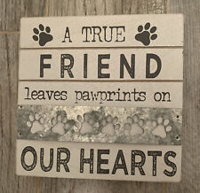 "DECORATIVE WOODEN PET DOG PLAQUE SIGN HOME DECOR "" DOG FRIEND ""NEW FARMHOUSE"