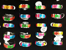 Wholesale Lots 10ps Peace Sign Enamel Top Stainless steel Jewerly Band Ring FREE