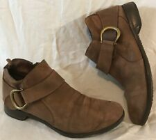Ladies Brown Ankle Leather Boots Size 7.5 (890Q)