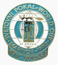 FIS WORLD CUP MARIBOR 1990  RTV MEDIA PRESS PIN BADGE ORIGINAL VERY RARE