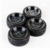 RC 4Pcs Tires Electroplate Wheels12mm Hex For HSP HPI 1:10 On Road Racing Car