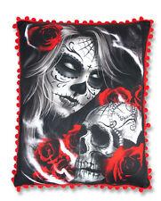 Licor Marca Sugar Skull Rose Tattoo Peluche Almohada Cojín Rojo Pom Pom Trim