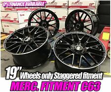 "19"" R142 MULTI SPOKE GLOSS BLACK ALLOY WHEELS TO FIT MERCEDES C-CLASS C63 AMG"