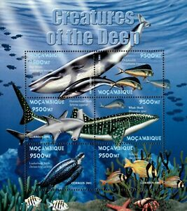 Mozambique 2001 - Creatures of The Deep Whale, Turtle - Sheet of 6 - 1411 - MNH