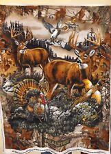 Realtree 2 Buck Deer with Turkey and Birds Fleece Fabric Panel -- New