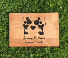 PERSONALISED MICKY & MINNIE DISNEY LASER ETCHED/ENGRAVED WOODEN CHOPPING BOARD