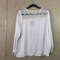 Dolan Left Coast Collection Women's Size XS Floral Lace Neck Blouse White