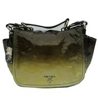 PRADA Vernice Sfumata Black Brown Green Ombre Patent Leather Silver HW Flap Bag